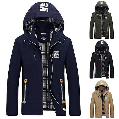 2018 Fall Mens Outerwear 100% Cotton Hooded Business Slim Fit Casual Jacket Coat