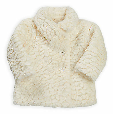 Baby Girls Coat New Kids Faux Fur Cream Winter Warm Jacket Ages 6 - 24 Months