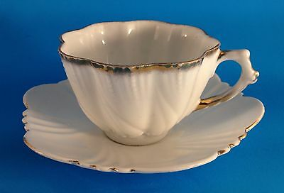 Antique fluted white & gold trim cup & saucer, Phoenix English China