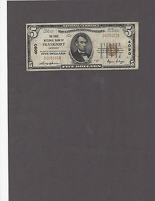 1929 $5.00 State NB of Frankfort, Ky., Type 1, Rare, Nice VF+