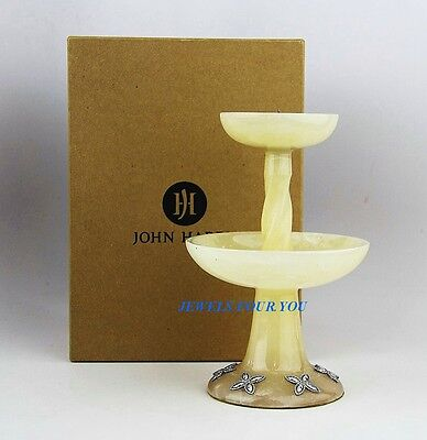 """John Hardy Home Amazing Golden Alabaster & St. Silver Candle Holder 7"""" New Box"""