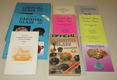 Lot of 9 Carnival Glass Guide Encyclopedia Calendar Auction Prices (all listed)