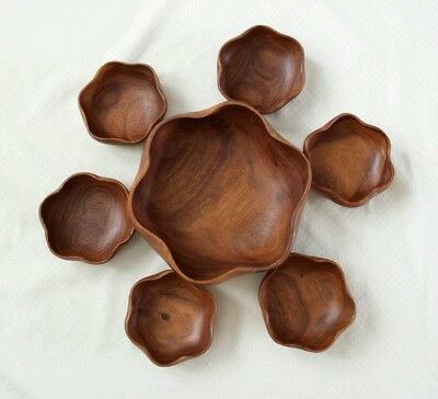 Hand Carved Teak Wood Danish Irregular Shaped Bowls Set of 7 Vintage Mid Century