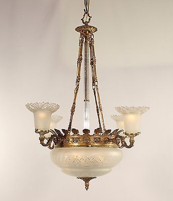 Antique 8 Light Spanish Bronze Chandelier w/ Frosted Cut Glass Bowl & Shades