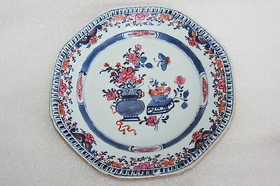 Antique Chinese Export Porcelain Octagonal Plate Flower Urn & Butterfly Pattern