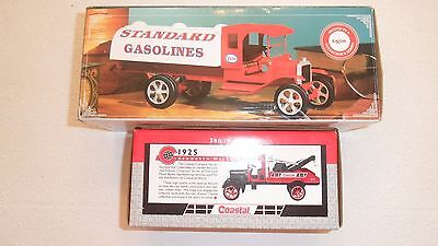 Lot of 2 Trucks Exxon Esso Toy Tanker & Coastal Kenworth Wrecker 1925 Bank Truck