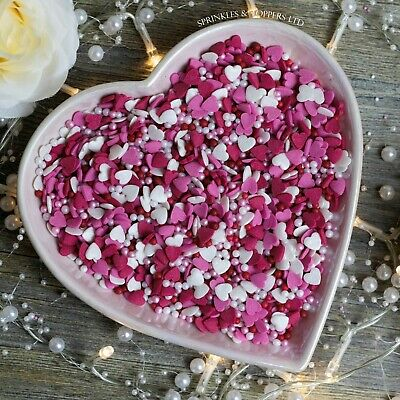 Red Pink & White Glimmer Hearts & Pearls cupcake / cake decoration sprinkles
