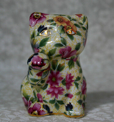 Cat Figurine Pink Gold Blue Floral Ceramic Sitting w Paw Raised SWEET! Nantucket
