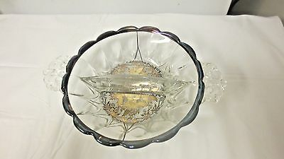 Older New Martinsville Clear Glass Silver Overlay Bowl-divided Floral Pattern