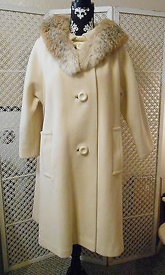 Vintage Swing Coat Jacket with Fox Fur Collar Creme/Ivory Color with Red Lining