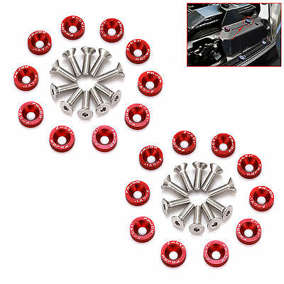 20 Pcs Red Jdm Billet Aluminum Fender/bumper Washer/bolt Engine Bay Dress Up Kit