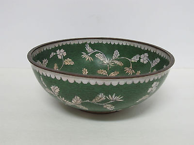 """Fine Old or Antique Chinese Cloisonne Bowl with Floral Design and mark 8"""""""