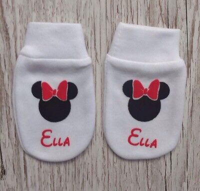 Personalised Minnie Mouse Baby Scratch Mitts/mittens