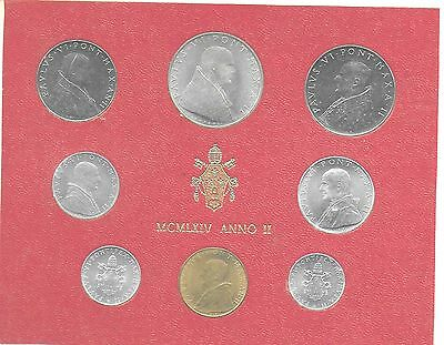 Vatican City 1964 Mint Set(8 Coins) KM-MS68 Gem BU In Original Holder