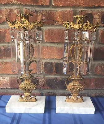 Pair of Antique Victorian Brass Candlesticks With Prisms & Marble Base