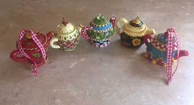 Lot of 5 Mary Engelbreit Mini Teapot Ornaments With Labels