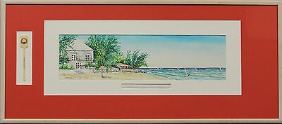 """Fab Glitter Bay Beach House- Barbados Watercolour by Clairmonte Mapp '92"""