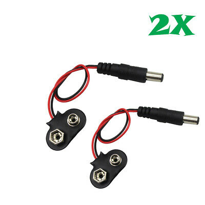 2 Pcs 2.1 x 5.5mm Male DC Power Plug to 9V Battery Clip Adapter Cable US Stock