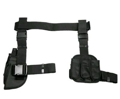 NcSTAR 3 Piece Drop Leg Hunting Tactical Thigh Rig Holster w/ Mag Pouches Black