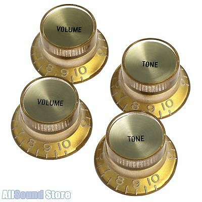 (4) GOLD Bell Top Hat Knobs w/ REFLECTOR for Epiphone® & Import Coarse Spline