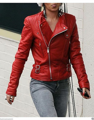Women's Red Moto Lambskin Real Leather Jacket Motorcycle Slim fit Biker Jacket