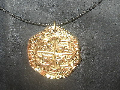 40Mm Gold Tone Pirate Escudo Pieces Of Eight Coin Cross Pendant Charm Necklace