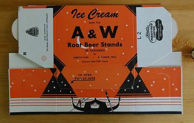 A&W Root beer ice cream carton Unused one pint Baraboo Wi Curtis Farr