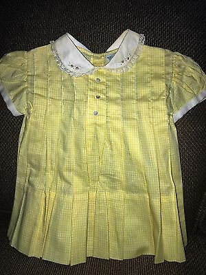 Vintage BABY TOGS Yellow & White Tiny Gingham Checked DRESS Embroidered Collar
