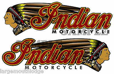 "New Peel And Stick Indian Motorcycle Double Left And Right  Decal 3"" X .938"