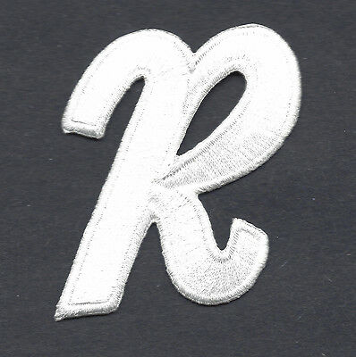 """LETTERS  - White Script  2"""" Letter """"R"""" - Iron On Embroidered Applique"""