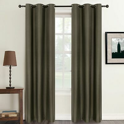 2 x INSULATED SUMMER HEAT 100% BLOCKOUT Curtains 6 Metal Eyelet Blackout Curtain