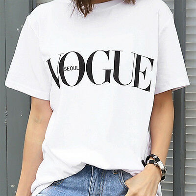 Women O-Neck VOGUE letters Printed  Short Sleeve T-Shirt