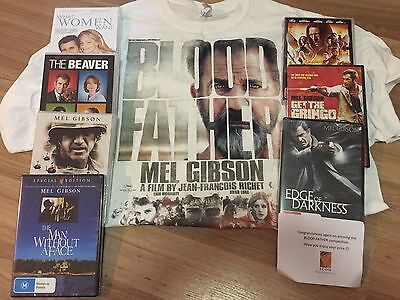 Bulk NEW Mel Gibson DVDs prize pack X 7 sealed titles & Blood Father tshirt XL