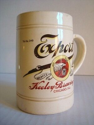 Antique KEELEY BREWING CO EXPORT LAGER Beer Stein Mug CHICAGO Pre-PROHIBITION