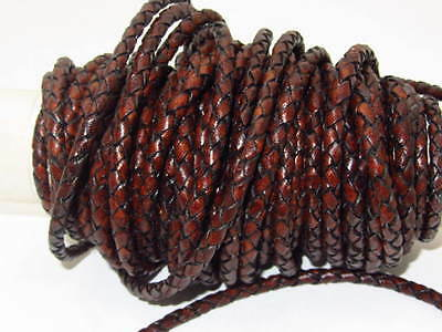"""Leather braided bolo cord...20 yards of antique brown.....5mm size (1/5"""") .02078"""