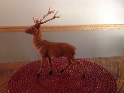 "Vintage Large Felt Covered Deer/Buck  10 1/2"" Tall"