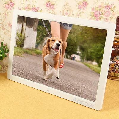 """17"""" Led Digital Photo Picture Frame High Resolution Alarm Clock Mp3 Mp4 White Us"""