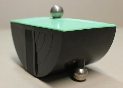 Vintage Original ART DECO BAKELITE BOX Green Black Chrome Balls 1930s - 1940s