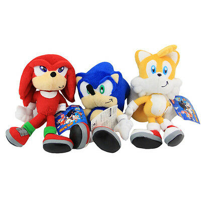 """3pcs Set Sonic The Hedgehog Sonic Knuckles Tails Stuffed Plush Soft Doll Toy 8"""""""