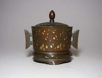 A Gold-Splashed Incense Burner with Bronze Stand and Cover