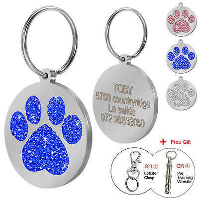 Bling Crystal Round Paw Personalized Pet Dog Tags Disc Dog Name ID Tag 30mm