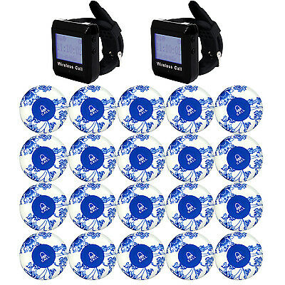 Restaurant Waiter Calling Paging System Watch Receiver+20 Button Pager Beepers