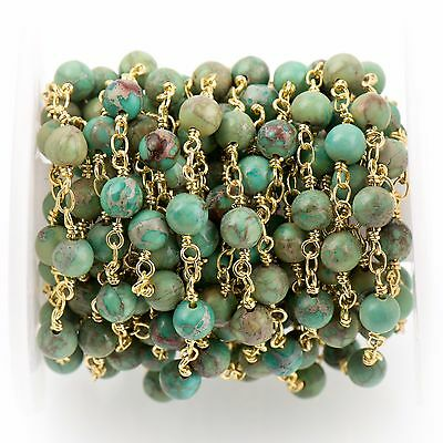 3ft Green AQUA TERRA JASPER Gemstone Rosary Chain, gold, 6mm round fch0735a