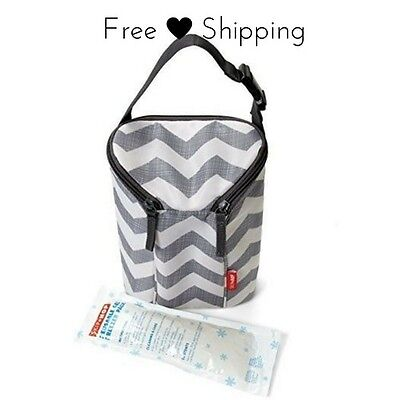 Baby Bottle Carrier Insulated Double Bag Portable Milk Holder Wipeable Lining