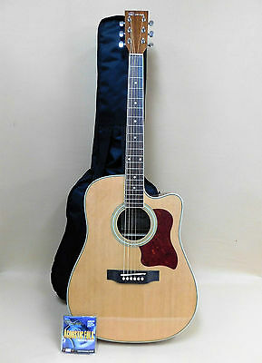 Caraya Sitka Spruce Cutaway F-650 Guitar with EQ + Gig Bag + Strings