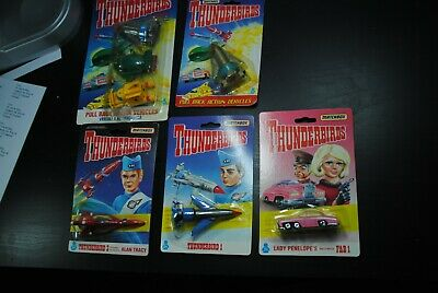 "Thunderbirds Matchbox  Die Cast  "" Pul Back Vehicles   ""1992  Moc   Nice Set"