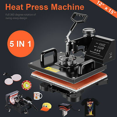 5 in 1 Digital Heat Press Machine Sublimation Transfer Print T-shirt Mug Hat