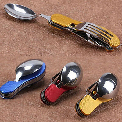 3 in1 Outdoor Camping Picnic Stainless Steel Cutlery Set Folding Spoon Fork