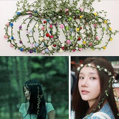Girl Crown Floral Rose Flower Headband Hairband Wedding Hair Garland Headpiece