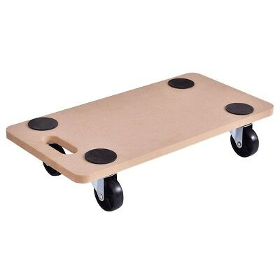 Wooden Platform Rectangle Dolly Utility Cart Transport Heavy Loads 440 lbs Tool